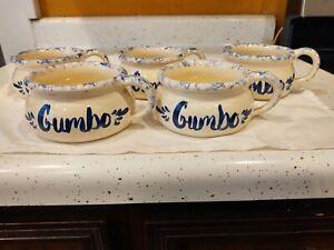 Vintage Gumbo Cups Bowl Ellis Production Marshall Texas Pottery USA Set of 5
