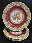 Tirschenreuth Bavaria Set of 4 Dinner Plates Floral Bouquet Center Gold TIR 375