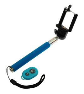Kit Percha Selfie Telescópico con Control Remoto Bluetooth (Azul)
