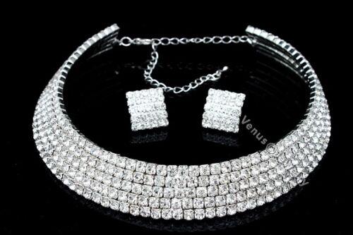 Bridal 5 Rows Crystal Rhinestone Wedding Prom Choker Necklace Earrings Set CN3