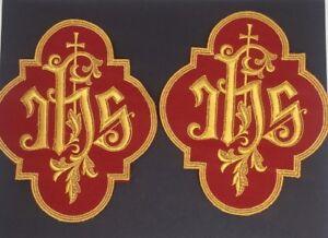 Vintage Cross IHS Lota Eta Sigma Latin Chasuble Applique Emblem 1 Pc.