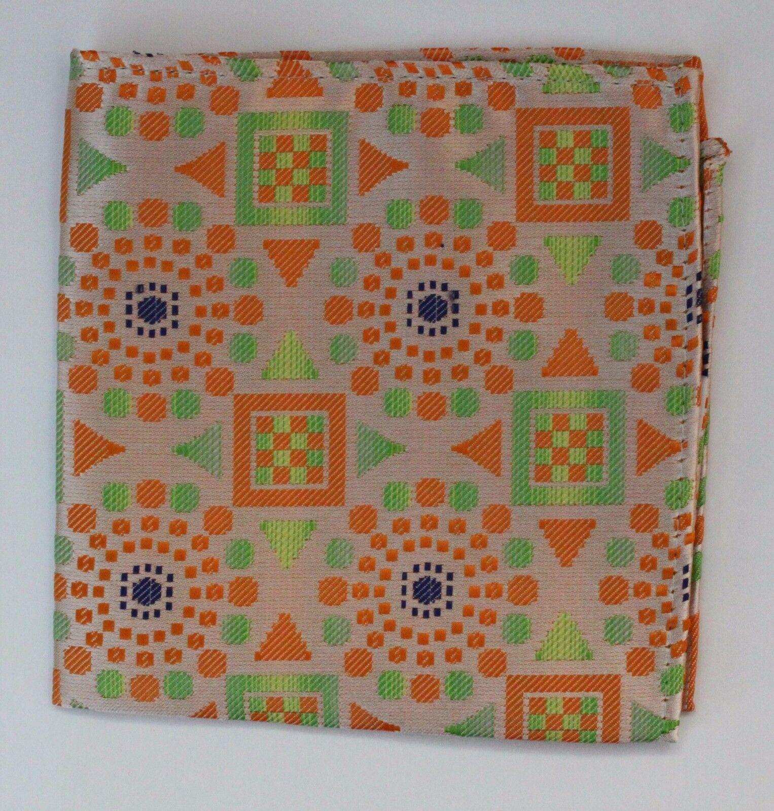 Hankie Pocket Square Handkerchief Orange Metallic Green & Blue