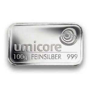 100-g-Silberbarren-von-Umicore-100-Gramm-999-Silber-pragefrisch-in-Folie
