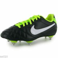 Nike Tiempo Rio Sg Mens Adults Football Boots Trainers Black & Volt Green 6 7