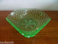 Stunning Bagley 'Fishscales' Uranium Green Glass Art Deco Bowl  1930's