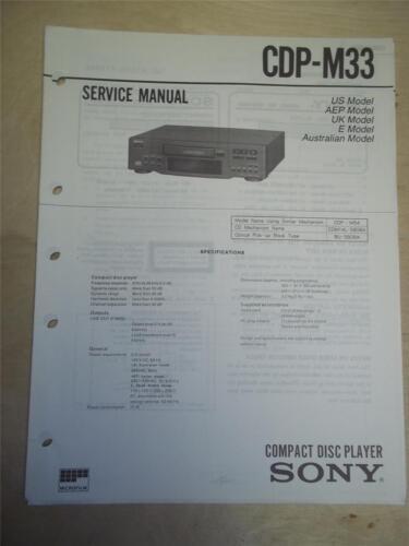 Sony Service Manual~CDP-M33 CD Compact Disc Player~Original~Repair