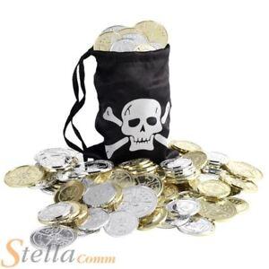 Pirate-Treasure-Sac-Accessoire-Deguisement-Porte-monnaie-with-12-pieces