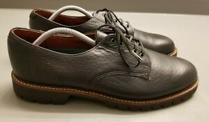 H-S-Trask-Black-Bison-Leather-USA-Oxford-Lace-Up-Dress-Shoes-Men-039-s-Size-11-5-M