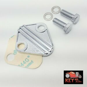 BBC Chrome Finned Fuel Pump Block Off Plate With Gasket BB Chevy 396 427 454 502