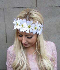 Large White Daisy Flower Garland Headband Hair Crown Band Boho