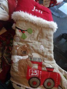 Pottery Barn Kids Woodland Stocking Christmas Bear Train