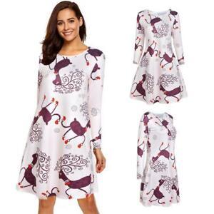 Christmas-Deer-Print-O-neck-A-line-Women-Dress-Fashion-Long-Sleeve-Dresses