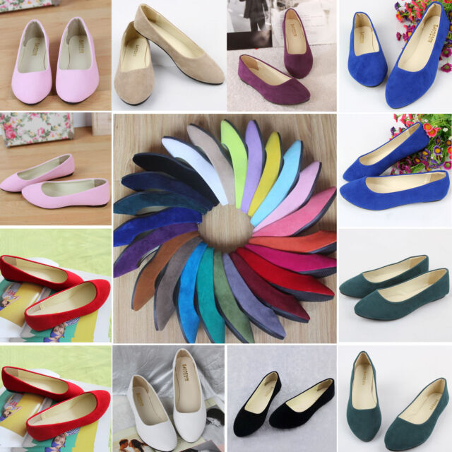 AU 3.5-8.5 Womens Suede Flats Loafers Ballerina Ballet Dolly Pumps OL Boat Shoes