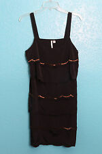 Lauren Conrad LC Black Scallop Tiered Dress Gold Beading Flapper Retro 12