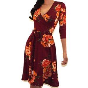 Womens-Got-Style-Burgundy-Floral-Faux-Wrap-Casual-Party-Midi-Dress-S-M-L