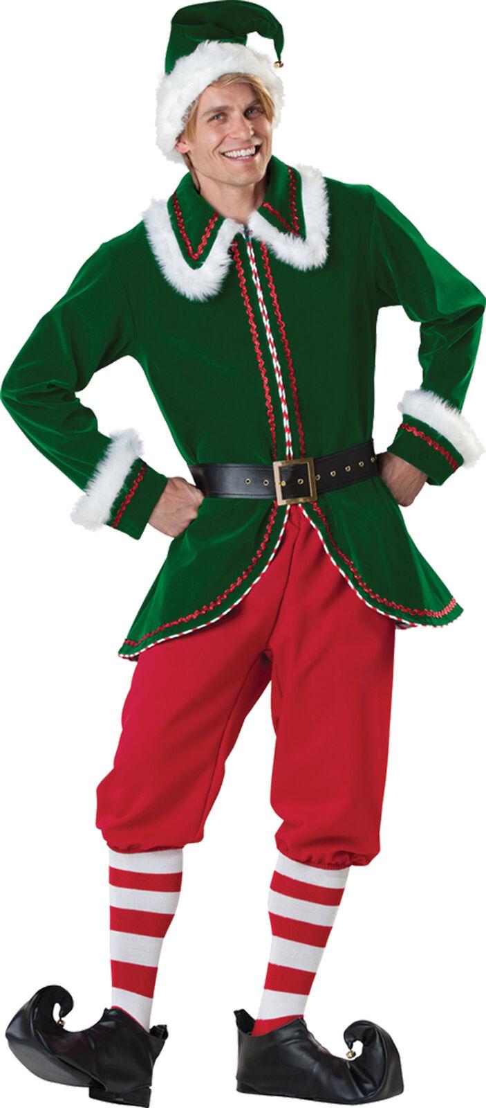 Santa's Elf Adult Men's Costume Flocked Velvet Jacket Christmas Fancy Dress