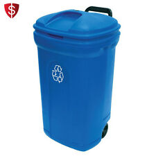 Wheeled Garbage Can Recycling Trash Bin Outdoor Lid Waste Container 34 Gallon