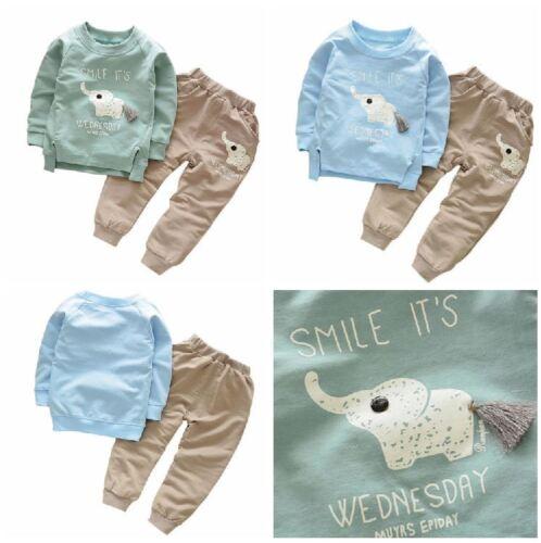 Elephant Print Top Trousers 2Pcs Long Sleeve Boys Outfit Set Party Kids Clothes