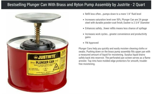 2 L Plunger Steel Justrite 10218 Container