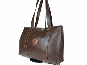 Image is loading Authentic-CELINE-MACADAM-PVC-Canvas-Leather-Browns-Tote- 18d96403f9512