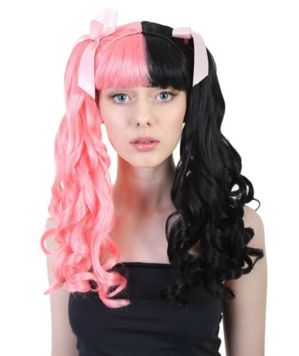 Adult Cosplay Melanie Style Pink ribbon Party Costume Pink /& Black Wig HW-1101A