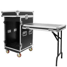 16 Space Rack Case with 10 Space Slant Mixer Top and DJ Work Table - 16U DJ Case