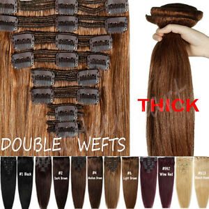 Elegant thick double wefted clip in remy human hair extensions image is loading elegant thick double wefted clip in remy human pmusecretfo Images