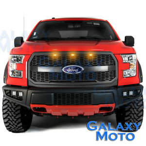 15-17-F150-Raptor-Style-Matte-Black-Mesh-Grille-w-Emblem-Housing-Amber-LED-light
