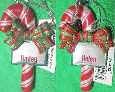 "Ganz Candy Cane Name Ornament /""C/"" Names"