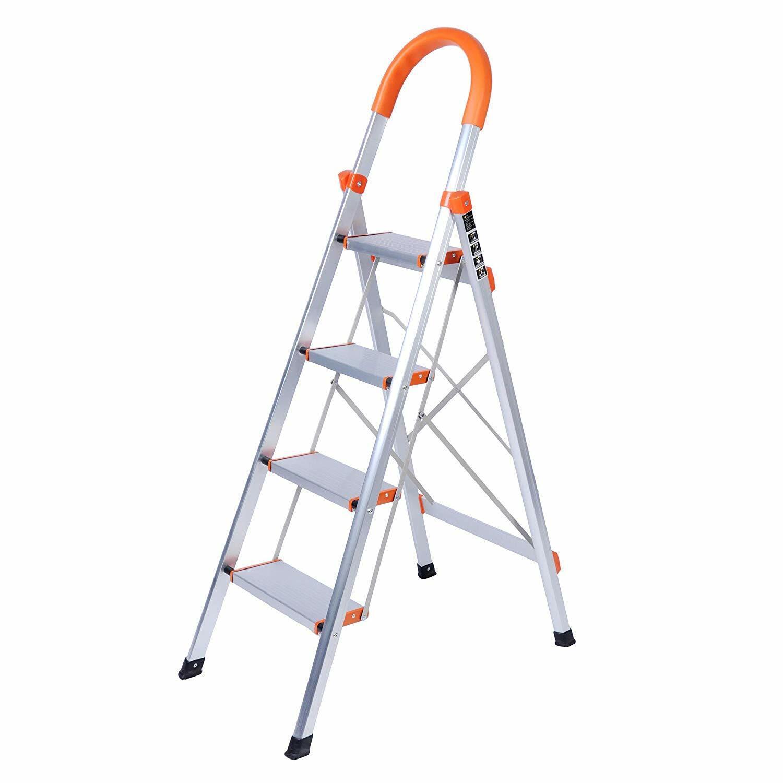 4 Step Ladder Duty Step Stool Steel Frame Stool Folding