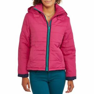 84b980eaf Details about Climate Concepts Women's Hooded Puffer Coat with Contrast  Zipper Small