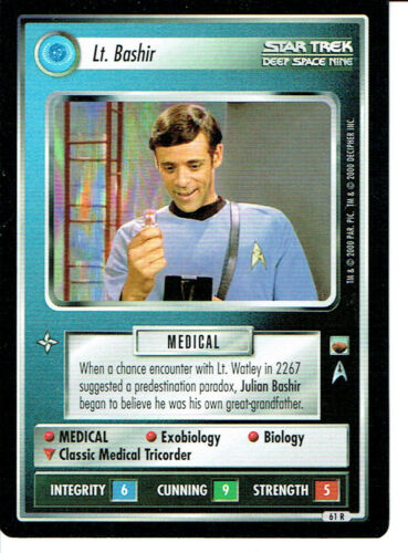 BASHIR STAR TREK CCG TROUBLE WITH TRIBBLES RARE CARD LT