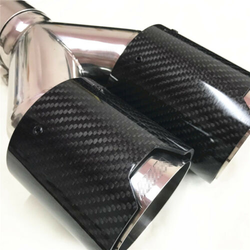"""2x Dual Stainless Car Carbon Fiber Exhaust Pipe 2.5/"""" inlet Muffler Tip Universal"""