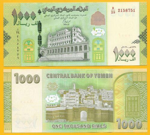 2018 2017 2 Yemen 1000 Rials p-40 UNC Banknote