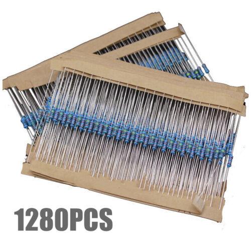 1280stk Widerstände Resistor Metallfilm 64 Werte Widerstand 1//4W Sortiment Set