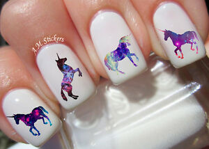 galaxy unicorn nail art stickers transfers decals set of