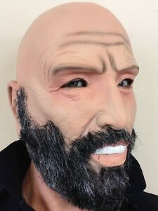 Image Is Loading Old Man Mask Grey Beard Bald Head Grandad