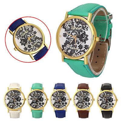 Vintage Women Ladies Lace Printed Analog Leather Wristwatch Watch New Nice