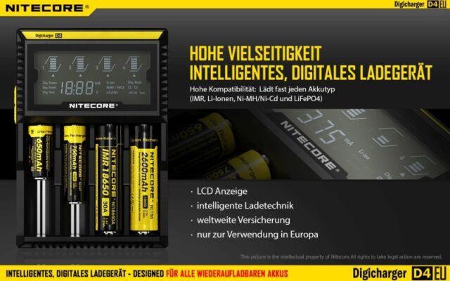 Ni-CD und LIFePo4 Akkus Nitecore Digicharger D2 EU  Ladegerät für Li-Ion Ni-MH