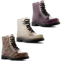 Ladies Vintage Retro Punk Womens Goth Lace Up Combat Ankle Boots Size UK 3-8