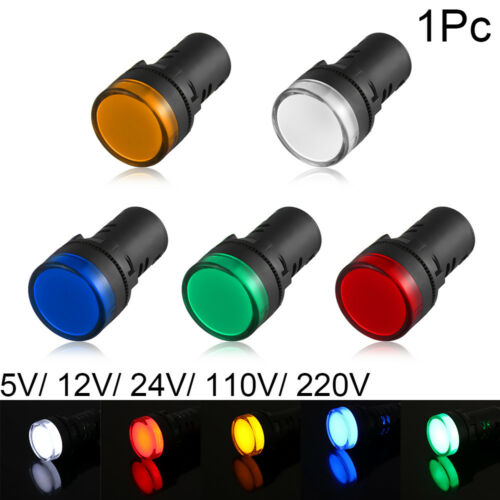 22mm LED Indicator Pilot Light  Signal Lamp Panel Mount 5V 12V 24V 110V 220V