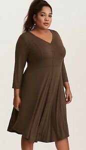 b5ebd3228fe Torrid Olive Green Knit Button Front Shirt Dress Size 2 18 20 NIP ...