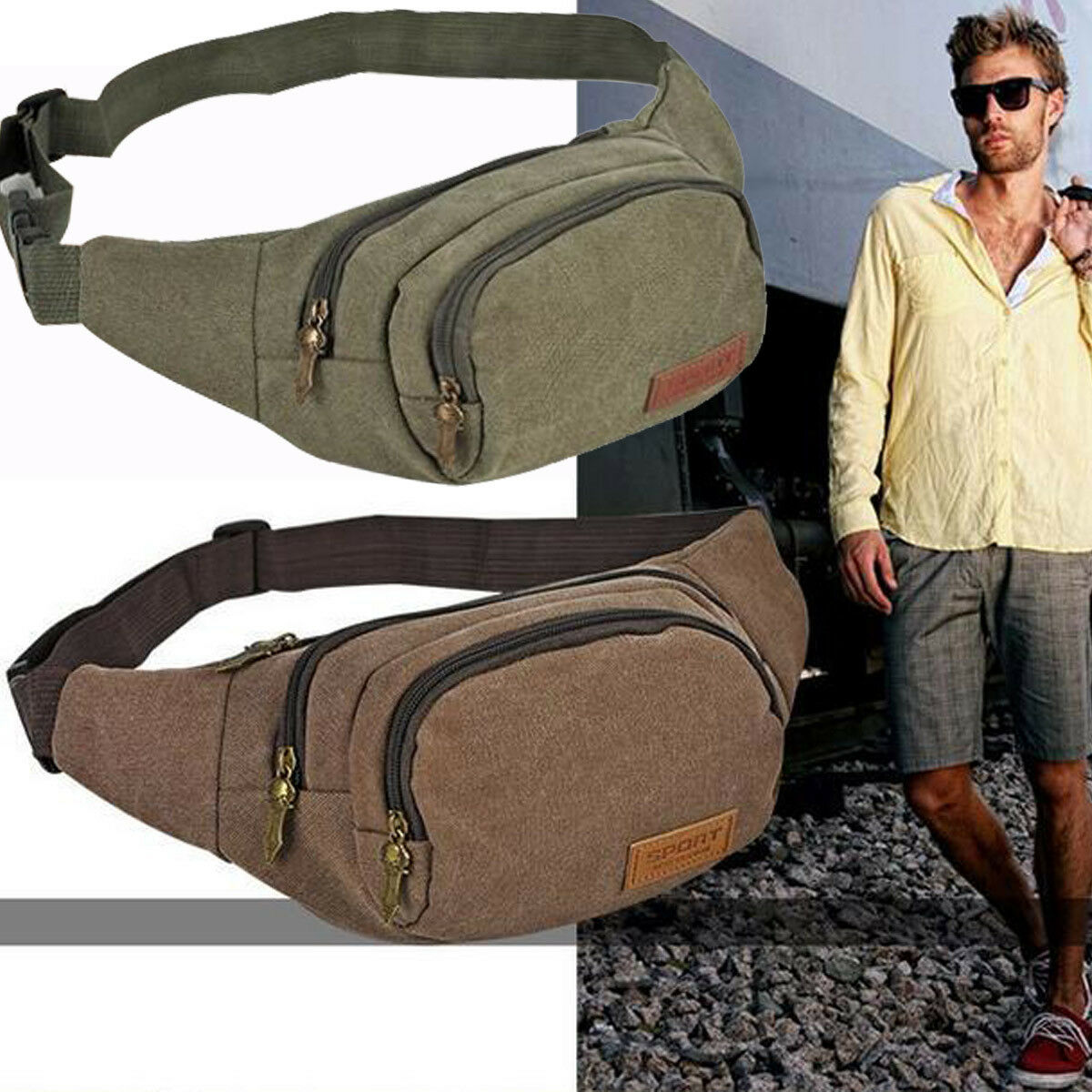 Mens Military Cycling Waist Fanny Pack Bum Belt Bag Pouch Travel Hip P... - s l1600