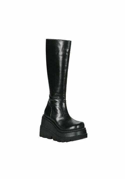 Demonia SHAKER-100 4 1 2 Inch Platform Knee Boot