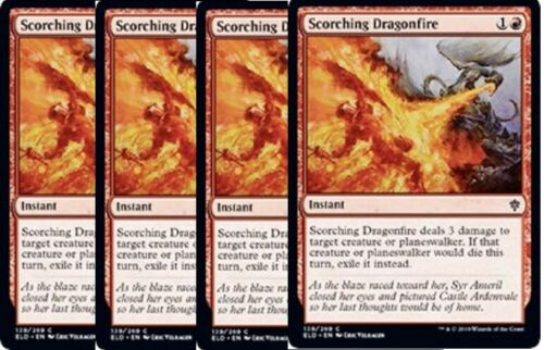 Throne of Eldraine Red Common NM SHIPS 10//4-4x Scorching Dragonfire