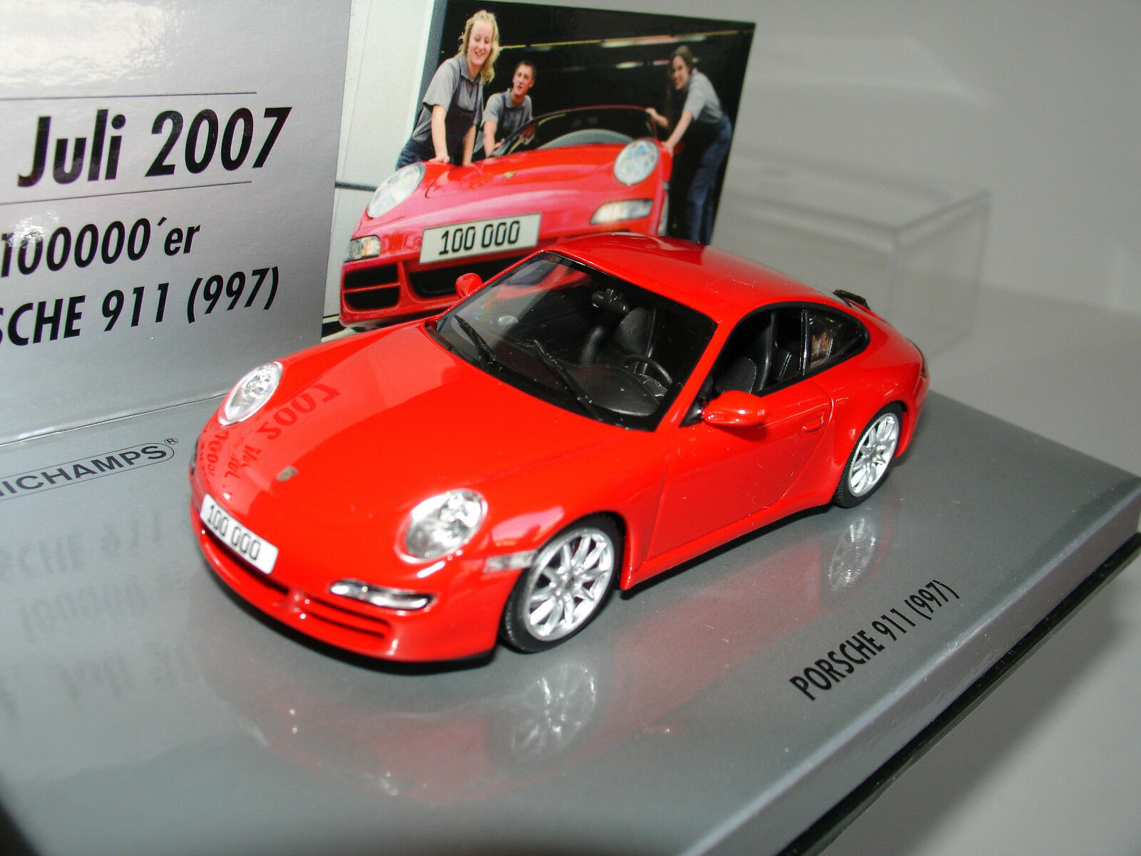 1 43 PORSCHE 911 (997) CARRERA S rot  100.000 th  by MINICHAMPS