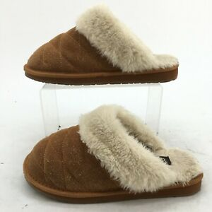 Clarks Womens 6M Ginger Quilted Slip On Mule Slippers Brown Suede Faux Fur Lined