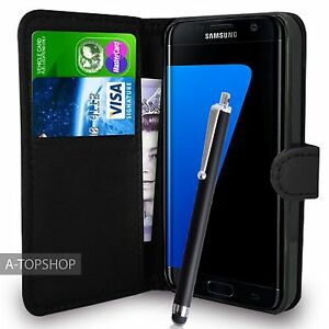 Black-Wallet-Case-PU-Leather-Book-Cover-For-Samsung-Galaxy-S7-Edge-G935-Mobile
