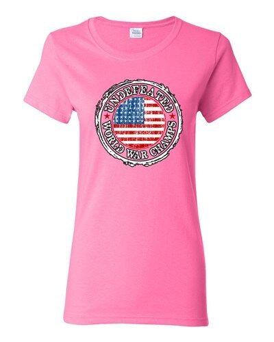 Ladies Undefeated World War Champ Belt USA America Flag Patriotic DT T-Shirt Tee