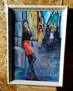 Peinture-Acrylique-sur-Toile-signe-et-Encadre-Peintre-Contemporain-TBE